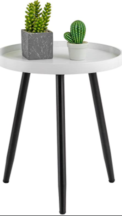 HUIDAO round side table 15 inches in diameter black and white
