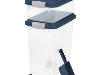 IRIS 3 Piece Airtight Pet Food Container   Scoop Combo  Navy Blue