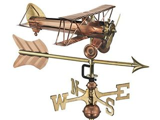 Good Directions Biplane with Arrow Weathervane  Includes Garden Pole  Pure Copper  Airplane Weathervanes  Aviation Decor
