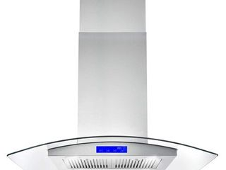 Cosmo COS 668ICS900 36 Inch Island Range Hood w  Touch Controls  Stainless Steel