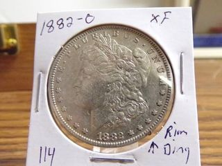 1882 O MORGAN DOllAR XF  RIM DING