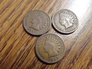 3   INDIAN HEAD PENNIES 1893  1896  1897