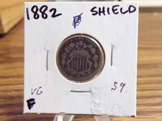 1882 SHIElD NICKEl VG