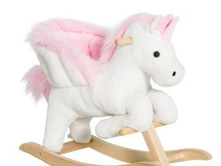 Qaba Kids Wooden Plush Ride On Unicorn Rocking Horse Chair Toy with Sing Along Songs