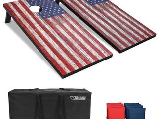 GoSports American Flag Regulation Size Cornhole Set Includes 8 Bags  Carry Case   Rules