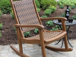 All Weather Woven Wicker   Eucalyptus Outdoor Rocking Chair