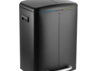happimess Marco 10 5 Gal  Black Rectangular Double Bucket Trash Can with Soft Close lid