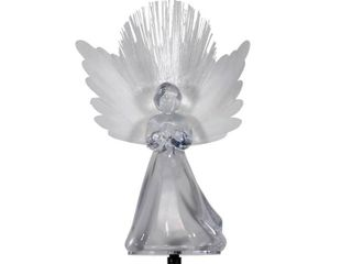Alpine Corporation 37 in  Tall Solar Angel Garden Stake with Fiber Optic Wings and lED lights  Set of 2