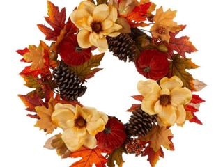 Single 22 D Wreath  Glitzhome Velvet Pumpkin and Pinecone Blooming Magnolia Wreath
