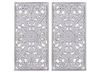 Set of 2  15 5  x 31 5  Botanical Wood Carved Wall Panel White