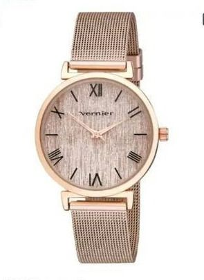 Vernier Womens Round Case Rose Gold Tone Mesh Watch   Rose Gold   Rose Gold
