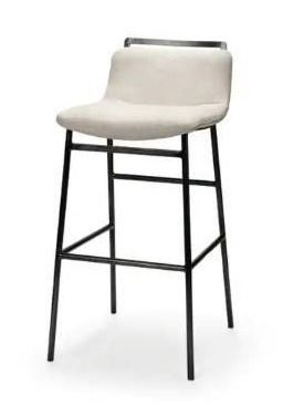 Mercana Metal And Fabric Bar Stool With White And Black Finish 68088