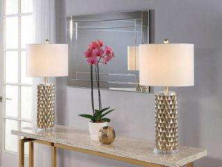 Abbyson Francesco Textured Gold 30 inch Table lamp  Set Of 2  Retail 154 99
