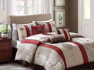 Red Perry Comforter Set King 7pc