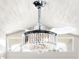 36 in Chrome Retractable 3 Blade Crystal Ceiling Fan with light Kit  Retail 169 99