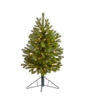 Nearly Natural Cambridge Spruce Flat Back Artificial Christmas Tree with 50 Warm Multifunction led lights and 113 Bendable Branches