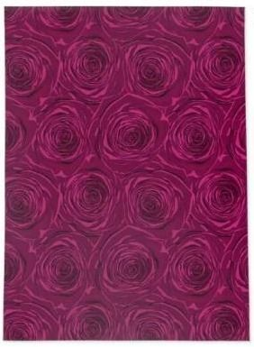 BED of ROSES PlUM FlAT Area Rug by Kavka Designs  Retail 114 49