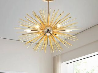 lorena Sputnik Chrome and Champaign Gold Industrial Chandelier  Retail 129 49