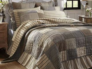 Charcoal Grey Farmhouse Bedding Miller Farm Charcoal Cotton Pre Washed Patchwork Chambray luxury King Quilt