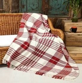 luxurious 100  Ringspun Cotton Throw Blanket Hand loom Stone Wash  50  x 60