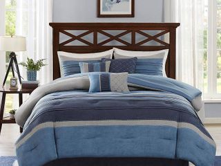 Comforter Set King 7pc Navy Colorblock   Rodgers
