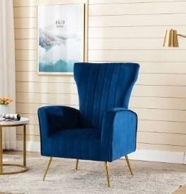 ladera Velvet Upholstered Wing Back Accent Chair  Retail 314 99