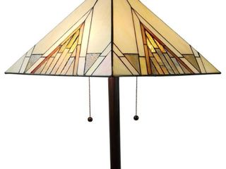Amora lighting Tiffany 62 in  Ivory   Tan Standing Floor lamp with Stained Glass Shade