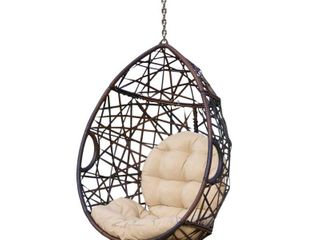 Cayuse Indoor Outdoor Wicker Tear Drop Hanging Chair  Stand Not Included  by Christopher Knight Home   Retail 217 49