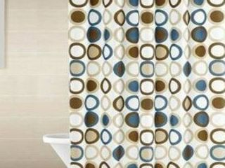 Polyester Shower Curtain with Hooks with matching rugs Brown Circles 72  x 72