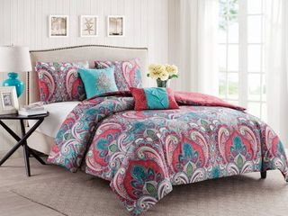 Full Queen VCNY Home Casa Real Damask Reversible Comforter Set