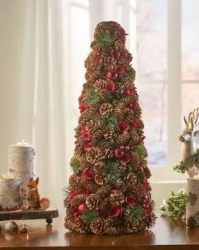 Natural   Red   Glitter  Mariana Pre Decorated Pine Cone and Glitter Artificial Tabletop Christmas Tree by Christopher Knight