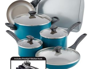 Farberware Dishwasher Safe Nonstick Cookware Set  Teal  15 Piece