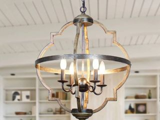 Antique Distressed Wood 4 light Candle Style Hall Foyer Chandelier  Retail 205 99