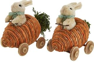 Set of 2 Bunnies Driving Veggie Cars by Valerie