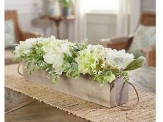 21  Peony and Hydrangea Wooden Centerpiece by Valerie