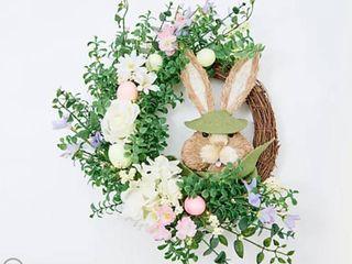 Barbara King 22  Illuminated Spring Floral and Sisal Bunny Wreath