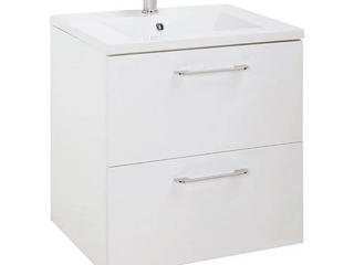 24  Happy Modern Bathroom Vanity   White   24 x 24 x 18 Inch Vanity  Ceramic Top and Mirror   2 Drawers  Retail  399 99