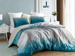 Coma Inducer Oversized Oversized Comforter   Ombre Velvet Crush   Ocean Depths Teal Silver Gray   Queen