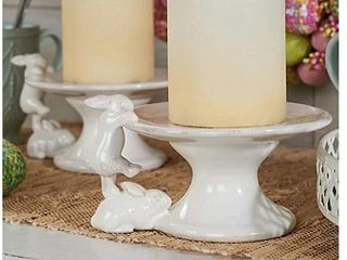 Set of  3  Ceramic Pedestal lifts with Bunnies by Valerie  Cream