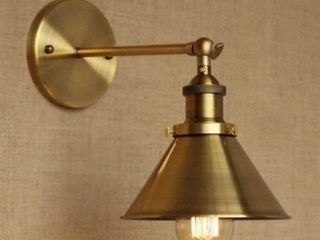 Gold  1 light Wall Sconce With Metal Cone Shade  Brass