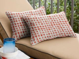 Geometric Coral Corded lumbar Pillows  Set of 2  by Havenside Home