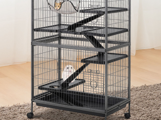 PawHut Deluxe Small Animal Cage Rolling Pet Product Play House Home with Platform  Ramps  Slide Out Tray  4 Tier with Hammock and Universal Wheels   Retail  129 99