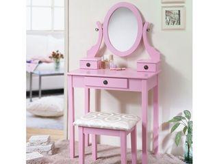 Roundhill Furniture Moniya Wood Vanity Table and Stool Set  Pink  Retail 124 99