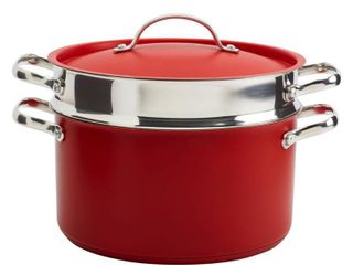 Denmark Bristol 3 Piece 6 qt  Red Stainless Steel Dutch Oven and Pasta Cooker  Matte Red