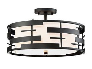 Nuvo lighting 60 6436 lansing 3 light 16  Wide Semi Flush Drum Ceiling Fixture W   Black