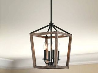 Antique Black  The Gray Barn Chatsworth 4 light Antique Black Iron and Wood Cage Chandelier  Retail 120 99