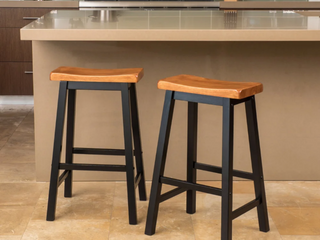 Pomeroy 29 inch Saddle Wood Barstool  Set of 2  by Christopher Knight Home  Retail 118 99