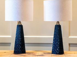 Set of Two Jameson Textured Ceramic Table lamps  Retail 113 99