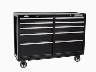 CRAFTSMAN 2000 Series 52 in W x 37 5 in H 10 Drawer Steel Rolling Tool Cabinet  Black