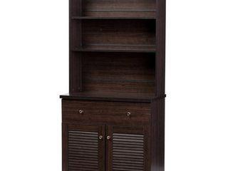 Baxton Studio Agni Modern and Contemporary Dark Brown Buffet and Hutch Kitchen Cabinet  Retail  209 99